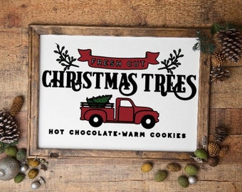 Red Truck Farm Fresh Cut Christmas Trees sign. Christmas sign. Christmas signs. Christmas decor. Farm Christmas. Pickup truck with tree