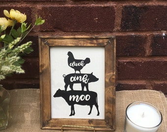Farmhouse kitchen sign with Cow, Pig, Chicken. Cluck oink moos signs.  Country farm signs. Farmhouse kitchen signs.  stacked farm animals