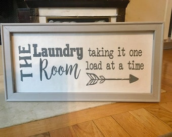 Laundry room signs laundry sign The Laundry Room taking it one load at a time. Wood framed canvas laundry room decor