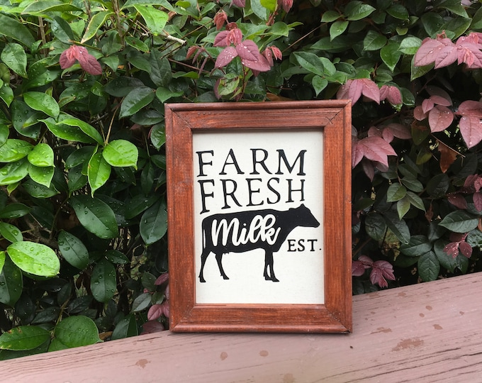 Farm signs, Farmhouse sign Farm fresh milk rustic farmhouse sign black cow country living signs cow picture decor est. date