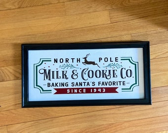 North Pole sign. Milk & Cookie company. Christmas sign. Christmas decor Christmas signs.  Baking Santa's cookies sign retro Christmas signs