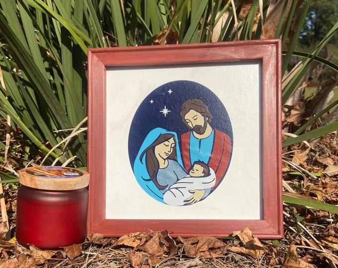 Nativity framed art. Christmas sign. Nativity sign. Christian Christmas decor. Christmas signs. Baby Jesus Holy Family Christmas decor