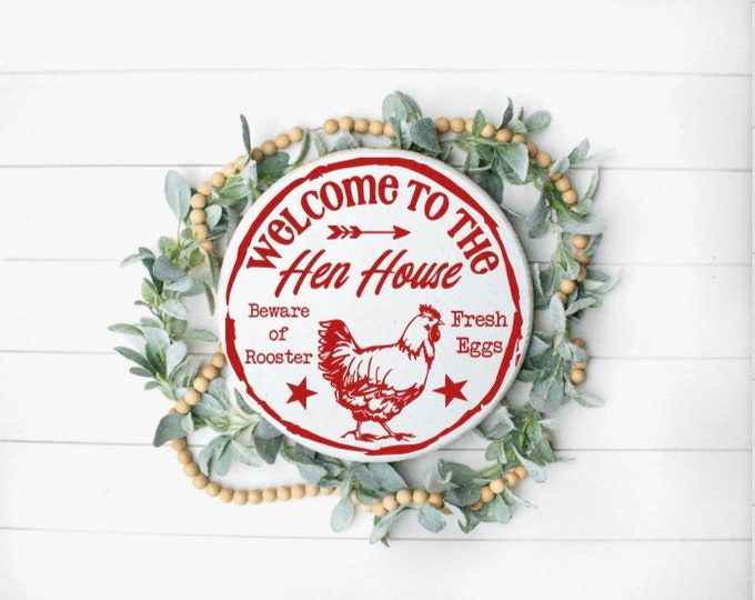 Hen house sign. Welcome to our Hen House. Fresh Eggs. Beware of Rooster. Hen house signs. Farmhouse signs.  Wood sign for hen house