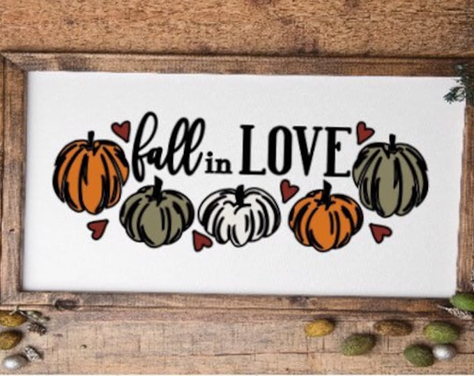 Fall sign Fall in love sign with pumpkins autums sign harvest sign Autumn decor fall decor Harvest decor pumpkins sign