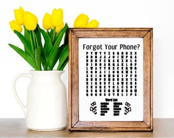 Spring word search sign. Bathroom word search. Forgot your phone? Crossword sign Spring decor bathroom signs
