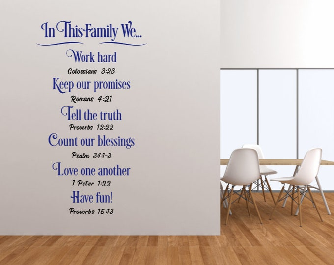 Family Rules wall decal. Family Rules wall decals. Christian family rules. Family rules wall stickers. Bible verse. Family rules for wall.