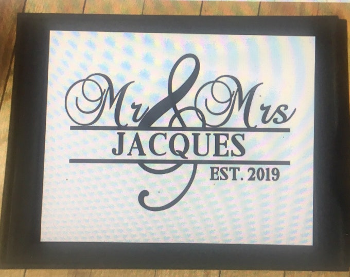 Mr & Mrs. sign personalized with last name and est date. Great custom wedding present or shower gift family sign