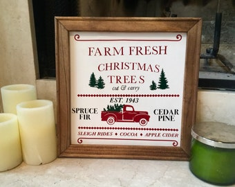 Red truck Christmas tree sign Christmas signs Farm Fresh Christmas Trees red truck sign Christmas sign Christmas decor Holiday sign Rustic