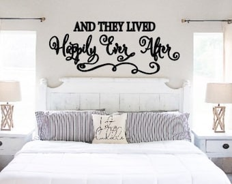 And they lived Happily Ever After bedroom wall decal wall sticker over the bed decal over the bed quote