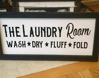 """laundry room signThe Laundry Room  *Wash *Dry *Fluff * Fold  10""""x 20"""" wood framed canvas laundry  decor laundry signs"""