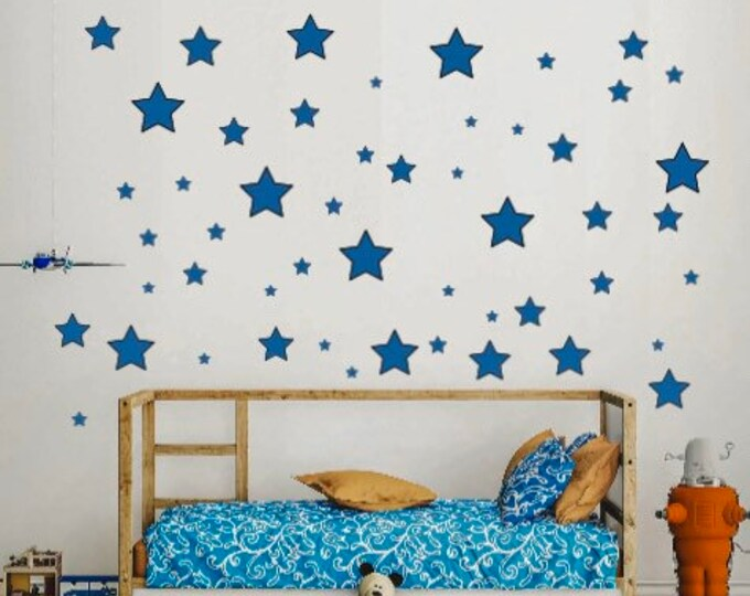 Star decals for wall. Metallic Gold, metallic silver, rose gold stars, Falling star decals. Star wall decal. Stars for wall or ceiling