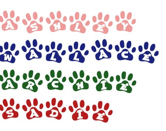 Animal paw print name stickers. Pet name decals. Dog name stickers. Pet paw print decals. Pet name stickers. Custom pet decals. Pet name.