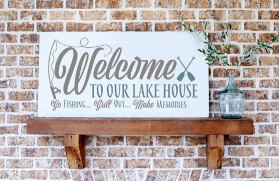 Welcome Lake house sign. Welcome to our lake house. Wood sign for lake house. Lake house sign. lake house signs. Wooden lake house signs.