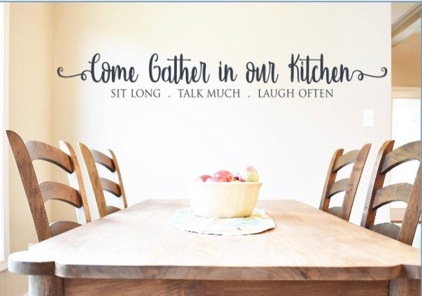 Kitchen Wall Decal Kitchen Wall Decals Come Gather In Our Kitchen Sit Long Talk Much Laugh Often Kitchen Decor Kitchen Wall Stickers