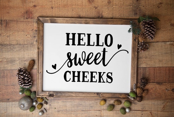 bathroom signs Hello Sweet Cheeks bathroom sign funny restroom signs guest bath decor powder room sign half bath sign