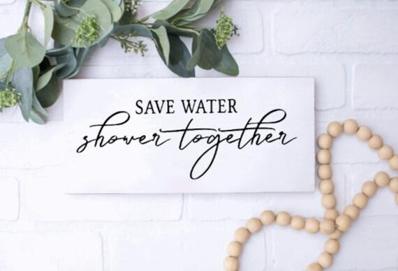Save Water Shower Together.  Bathroom sign. Wood bathroom signs. Bathroom decor. restroom sign.Bathroom wall decor. Wood restroom signs.