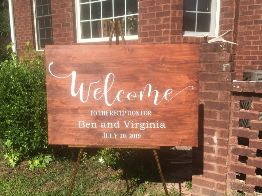 Wooden Wedding Signs.Wedding Sign Welcome Reception Sign Wood Wedding Sign