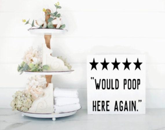 5 star Would Poop Here Again. Bathroom signs. Bathroom sign. Wood bathroom signs. Bathroom decor. wood restroom sign.  Wood restroom signs.