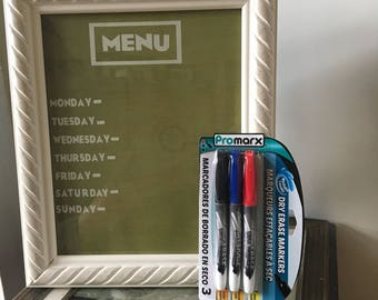 Framed dry erase menu board for kitchen. Picture meal plan weekly custom