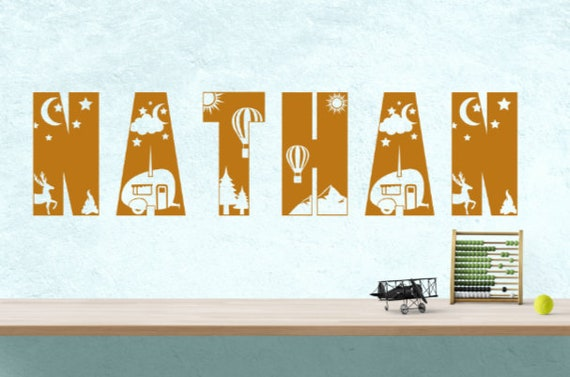 Camping themed name wall decal. camper name stickers.  child bedroom name stickers. Camping wall name decals. name wall decals. nursery
