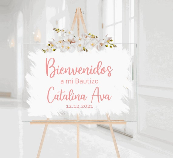 Bienvenidos sign stickers. DIY sign stickers. A Mi Bautizo sign stickers. Spanish sign decals.  Custom Spanish decals. Bienvenidos stickers