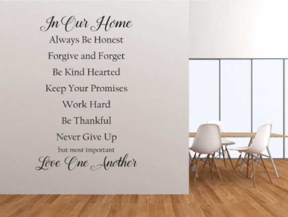 Wall Stickers. Wall decals. In our home. Large wall decals. Family quote. Family Rules decals. Family rules wall stickers. House rules decal