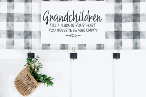 Wood signs. Grandchildren fill a place in your heart you never knew was empty.  Wood sign. Grandparents sign. Gift for grandparents.