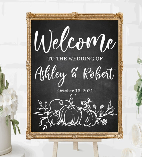 Fall Welcome wedding sign decals. DIY Wedding sign stickers. Welcome sign stickers. Custom Wedding sign decals.  fall wedding signs. autumn