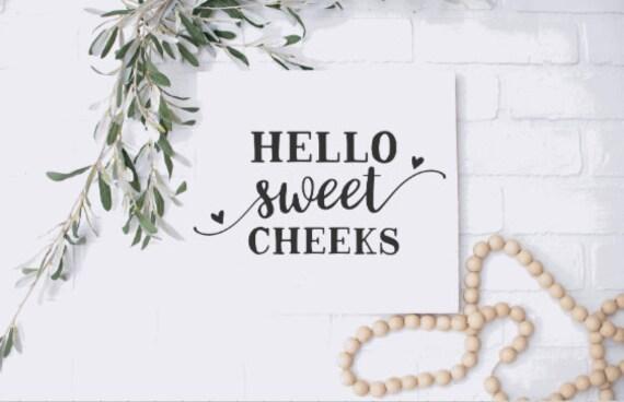 Hello Sweet Cheeks.  Bathroom sign. Wood bathroom signs. Bathroom decor. restroom sign.Bathroom wall decor. Wood restroom signs.