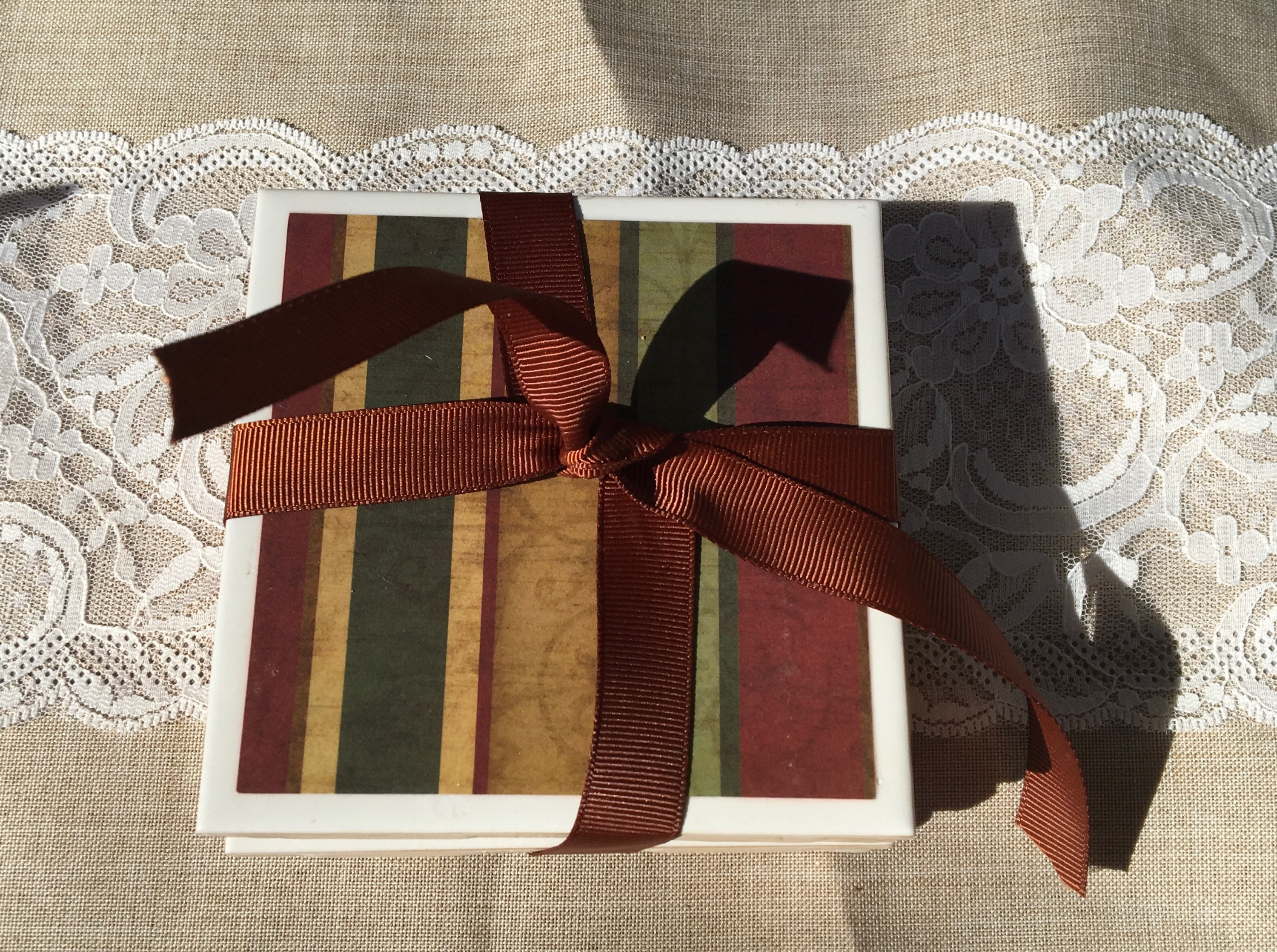 Brown Striped 4x4 Set Of 4 Ceramic Tile Coasters With Cork Backing