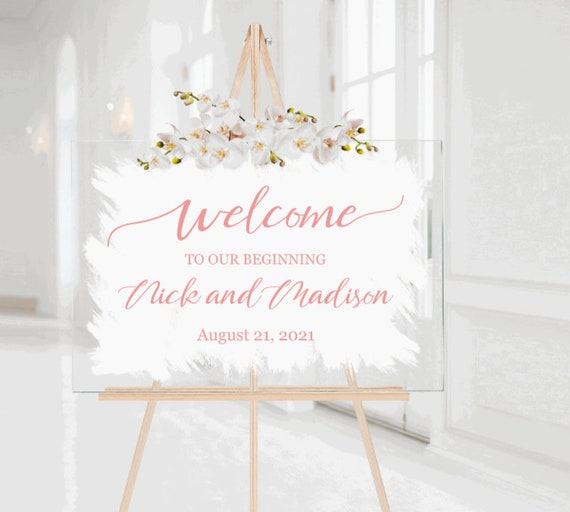 Welcome wedding sign. Brushed back acrylic wedding sign. Painted back acrylic wedding sign. Modern wedding sign. Acrylic wedding signs