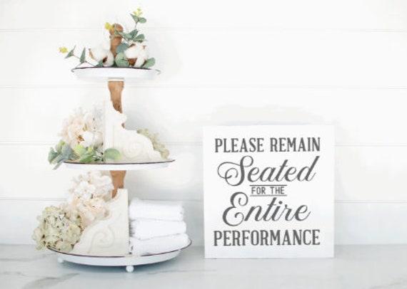 Please remain seated. Bathroom sign. Wood bathroom signs. Bathroom decor. restroom sign. Funny bathroom signs. Wood restroom signs.