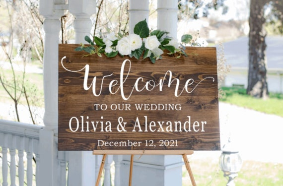 Welcome sign decals. DIY Wedding sign stickers. Welcome sign stickers. Custom Wedding sign decals.  Welcome  sign decals for wedding.