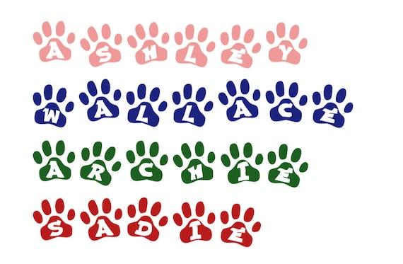Animal paw print name stickers. Pet name decals. Dog name stickers. Pet paw print decals. Pet name stickers. Custom pet decals. Pet name.