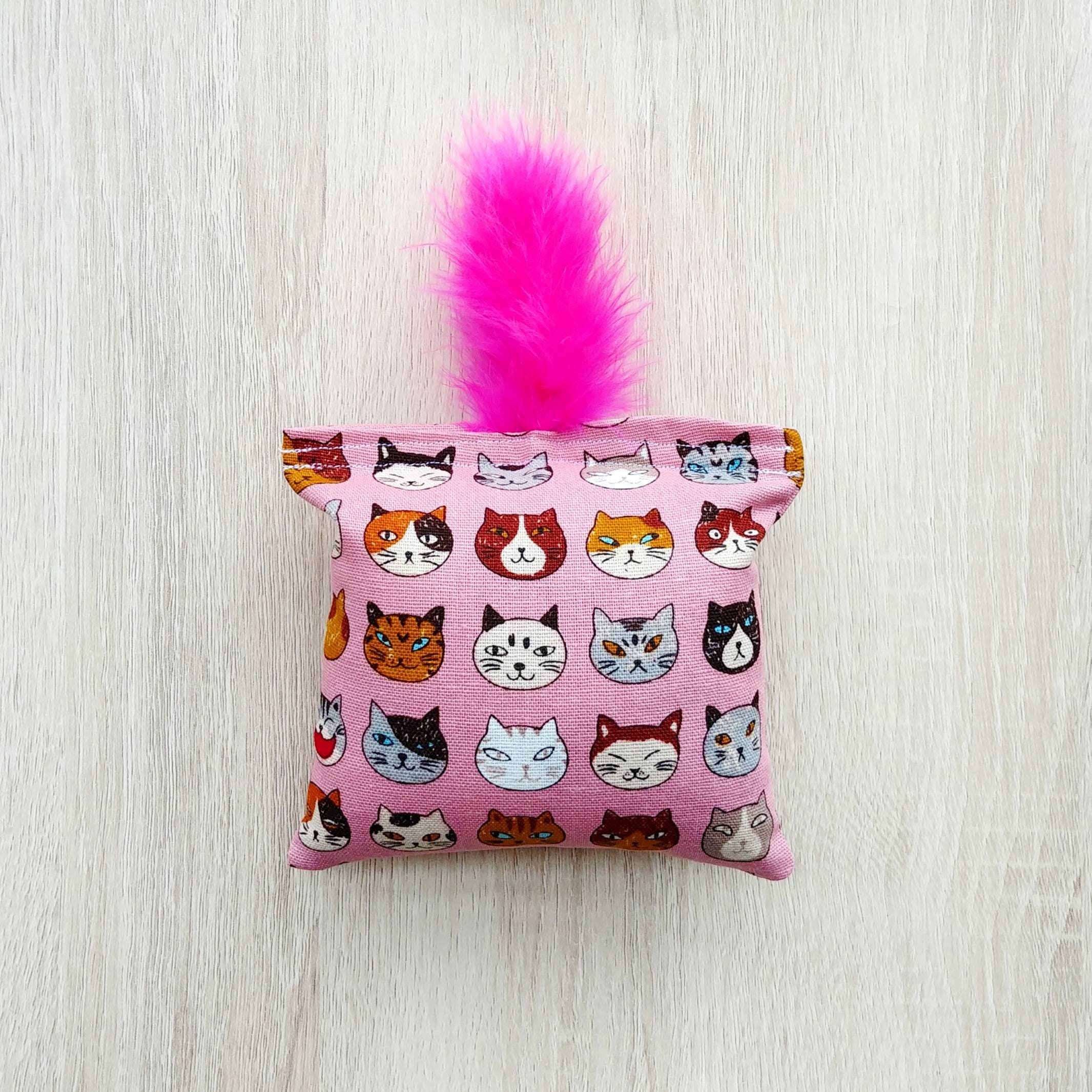 Pink Cats Catnip Pillow Cat Toy With Feathers Pink Catnip
