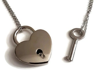 85433372ef lock and key necklace, gift for couples, stainless steel necklaces.