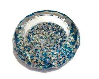 holographic ashtray, stars ash tray, glitter ashtray