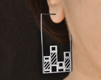 Graphic Bars - Bar graphs turned into silver hoops, silver hoop earrings, statistics jewelry, science gifts, science jewelry by Aliame