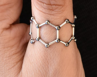 Bond with Molecules - Unique thumb ring, science jewelry, geeky nerdy jewelry, adjustable ring, medical gifts, science gifts by Aliame