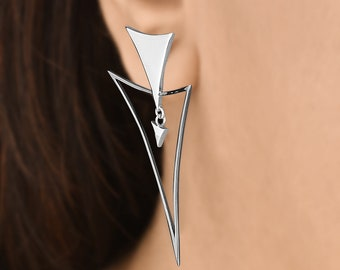 Trendy Triangles - 925 sterling silver earrings, triangle earrings, geometric earrings, drop/dangler earrings, unique silver earrings Aliame