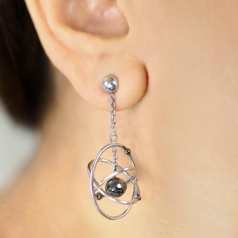 925 Sterling Silver Atom Sign Stud Earrings