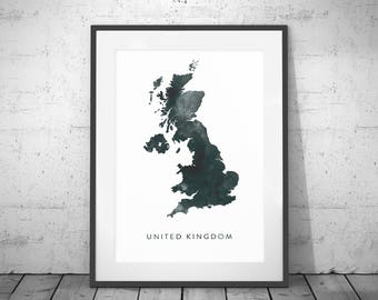 Map Of England Poster.Uk Map Etsy