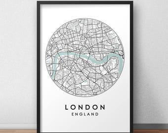 London Map Print Etsy