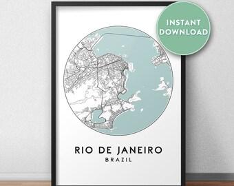 Rio de janeiro map   Etsy