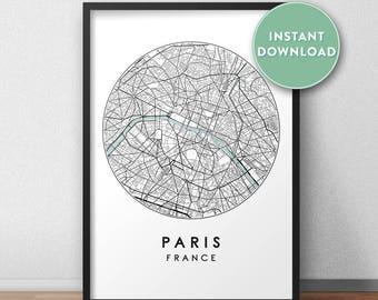 ee17ec4b Paris City Map Printable, Street Map Art, Paris Map Print, City Map Wall  Art, Paris Map, Travel Poster, France, Map Print