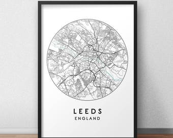 Leeds City Print, Street Map Art, Leeds Map Poster, Leeds Map Print, City Map Wall Art, Leeds Map, Travel Poster