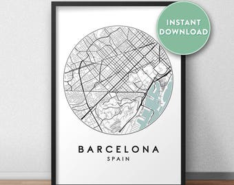 Barcelona City Print Instant Download, Street Map Art, Barcelona Map Print, City Map Wall Art, Barcelona Map, Travel Poster, Spain,