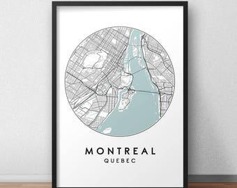 Montreal City Map Print, Street Map Art, Montreal Map Poster, Montreal Map Print, City Map Wall Art, Montreal Map, Travel Poster, Quebec