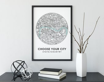 Custom City Map Print, City Map, Custom Map Print, City Map Wall Art, Custom Map, Travel Poster, Map Print, Personalised Gift