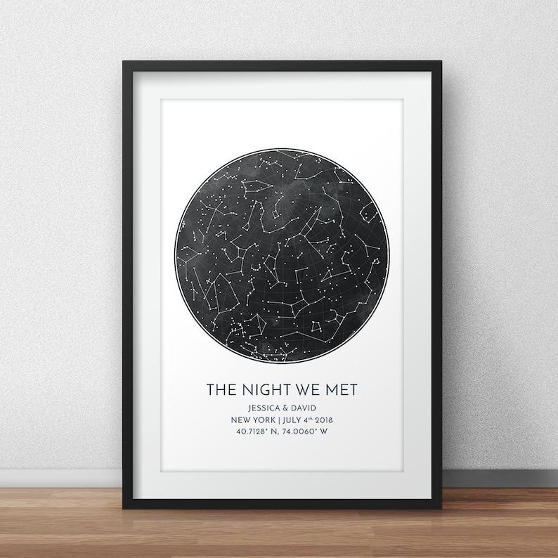 Custom Star Map Print Anniversary Gift Night Sky Print Star image 0